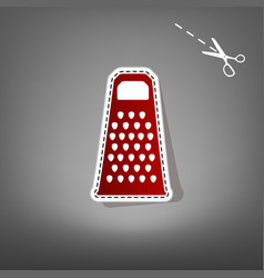 Cheese grater sign  red icon with for vector