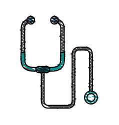 Color crayon stripe cartoon stethoscope medical vector