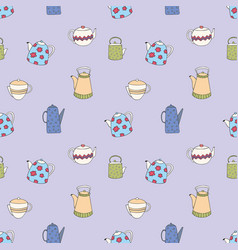 pattern with stylized colorful teapots seamless vector image