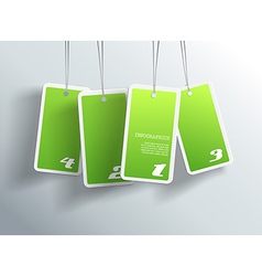 Four hanging green cards You can place your own vector image