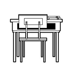 School table and chair of classroom vector