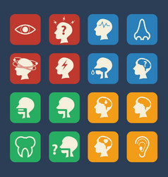 Brain and respiratory medical and hospital icons vector