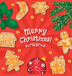 Merry christmas card banner gingerbread cookies vector