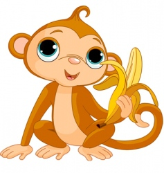 Comic monkey with banana vector