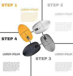 Computer mouses infographic steps vector