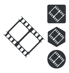 Movie icon set monochrome vector