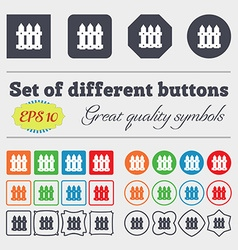Fence icon sign big set of colorful diverse vector