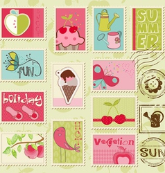 Summer stamps - set of beautiful summer-related ru vector