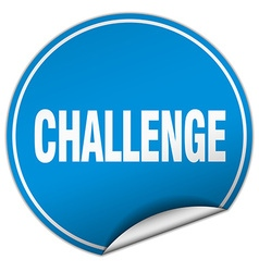 Challenge round blue sticker isolated on white vector