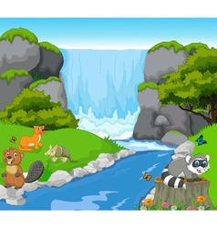 Funny animal with waterfall landscape background vector