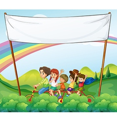 A group of kids under the empty signage vector image