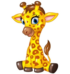 Adorable baby giraffe sitting isolated vector image