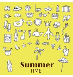 Beach icons collection Hand drawn summer icon set vector image vector image