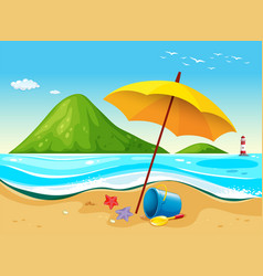 Beach scene with umbrella and toys vector