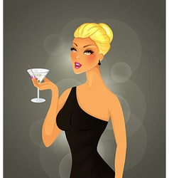Beautiful woman with cocktail vector image vector image