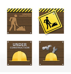 beware traffic sign on wood background vector image vector image