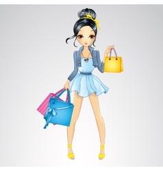 Brunette Girl Do Shopping vector image vector image