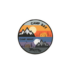 camp day and camp night outdoor adventure concept vector image vector image