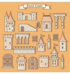 Cartoon stone castle isolated parts vector