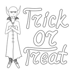 Cartoon vampire and words trick or treat isolated vector
