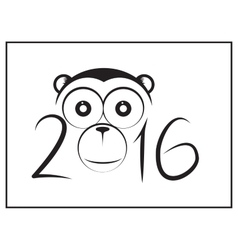 Chinese Happy New year with cartoon Monkey head vector image vector image