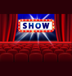 cinema show design with lights scene and red seats vector image