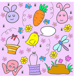 Collection stock of easter egg doodles vector