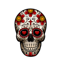 day of the dead skull skull sugar flower vector image