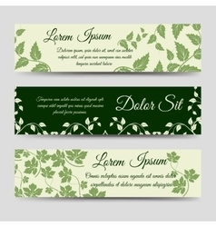 Eco horizontal banners with green branches vector