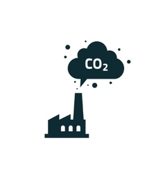 Factory plant silhouette chimney polluting CO2 vector image vector image