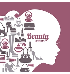 Fashion beautiful woman silhouette vector