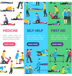 first aid emergency help with people banner vector image vector image