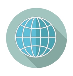 Flat style icon with long shadow Earth globe vector image vector image