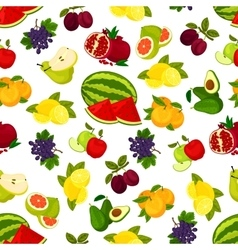 Fresh juicy bright fruits pattern vector