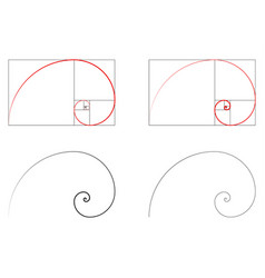 Golden ratio spiral section set vector