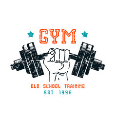 gym club emblem in retro style vector image vector image