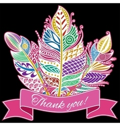 Hand drawn zentangle feather on white background vector image vector image