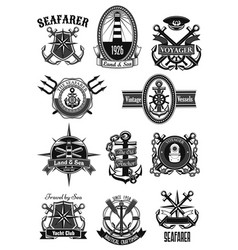 Heraldic icons of nautical marine seafarer vector