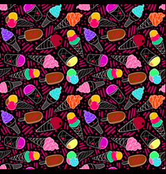 Ice cream pattern 7 dark big vector