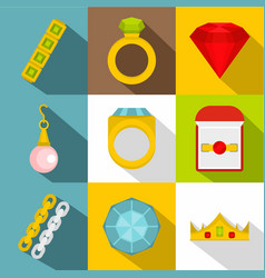 jewelry icon set flat style vector image