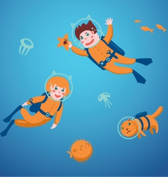 Kids diving vector image