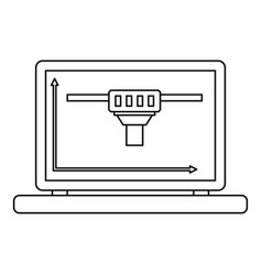 laptop with 3d design icon outline style vector image