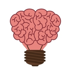 Light bulb in form of brain icon vector