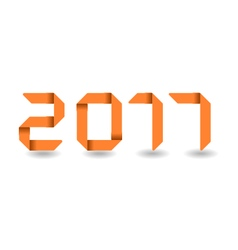 New year 2017 text folded paper vector image vector image