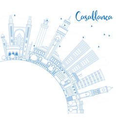 Outline casablanca skyline with blue buildings vector
