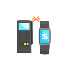 Pos terminal confirming the payment using smart vector
