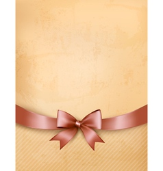 Retro background with old paper and gift bow and vector image