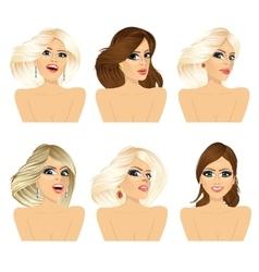 six attractive caucasian women faces vector image vector image
