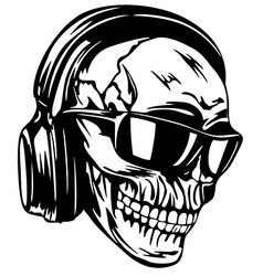 skull in headphones and sunglasses vector image vector image
