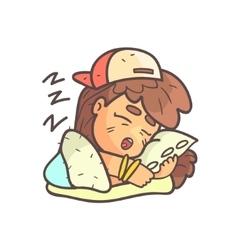 Sleeping girl in cap choker and blue top hand vector